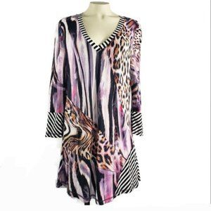 Lior Paris long animal print tunic top V-neck
